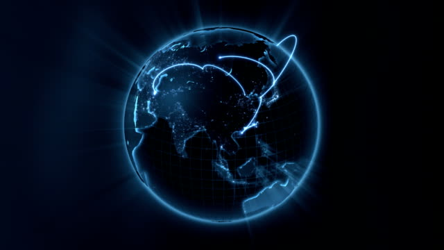 stockvideo's en b-roll-footage met global business - blue center loop - uitwisselen