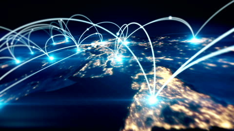 Global business concept of connections and information transfer in the world Global business concept of connections and information transfer in the world cartography stock videos & royalty-free footage
