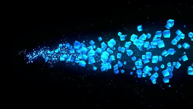 vidéos et rushes de global business network, cubes bleus sur fond noir, paillettes animation, - cube