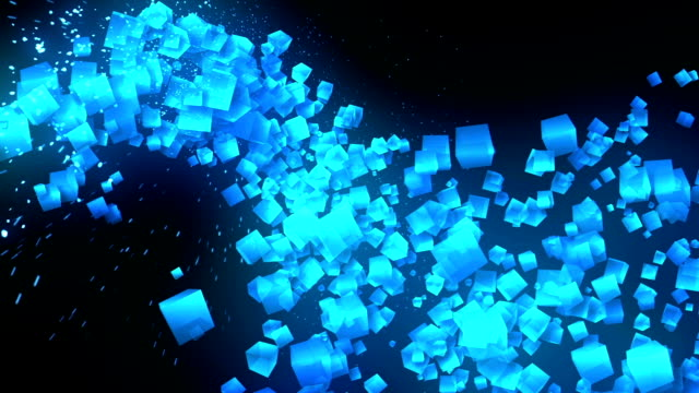 Global Business Network, Blue Cubes on Black Background, Glitter Animation, video