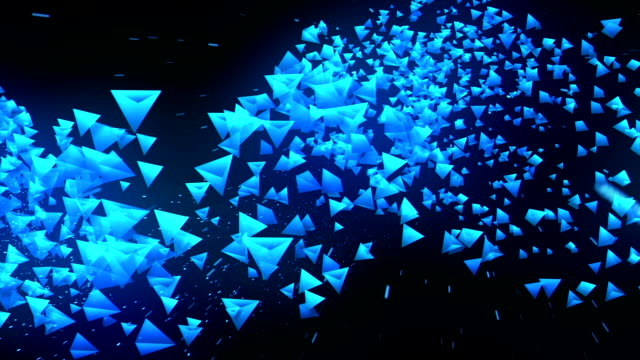 Global Business Network, Blue Pyramids on Black Background, Glitter Animation, video