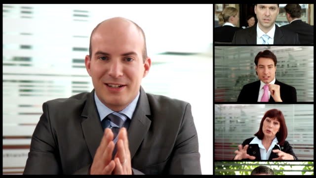 montaggio hd: global business videoconferenza - video call video stock e b–roll