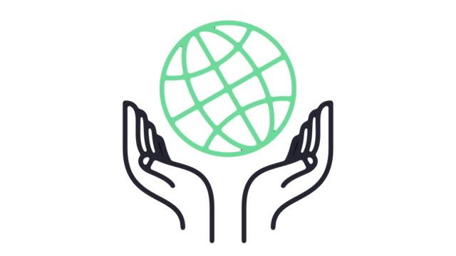 vídeos y material grabado en eventos de stock de animación de icono de línea de caridad global - charity