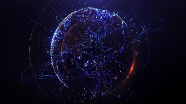 地球空間、世界の取引所で周りグローバル通信ネットワーク - 鎖の輪点の映像素材/bロール