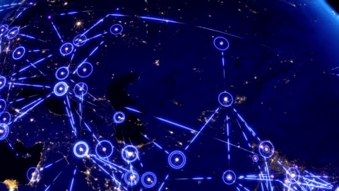 Global communications, network of connections over Asia, Europe and America. Global communications through the network of connections over Far East, Asia, Europe and America. Concept of internet, social media, traveling. High resolution texture of city lights at night. 4k. cartography stock videos & royalty-free footage