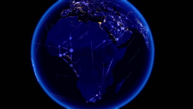 Global communications through the network of connections over Africa. video