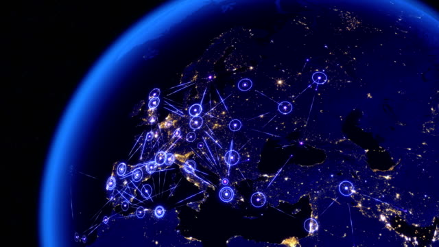 Global communications through the network of connections over Europe. video