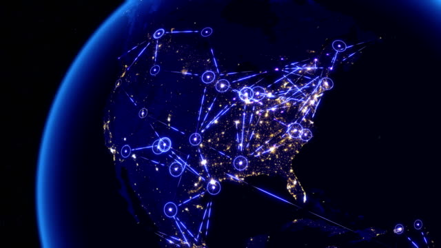 Global communications through the network of connections over North America. video