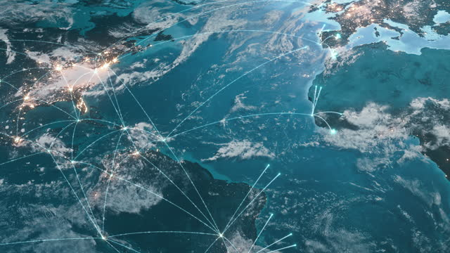 グローバル接続ライン - ネットワークの拡大 - グローバルビジネス、ネットワークセキュリティ、広がるパンデミック - グローバル点の映像素材/bロール