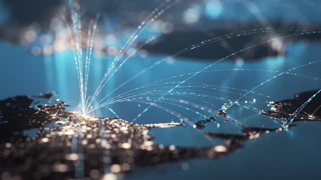 グローバル接続ライン - グローバルビジネス、データ交換、旅行ルート - マルチカラー - グローバル点の映像素材/bロール