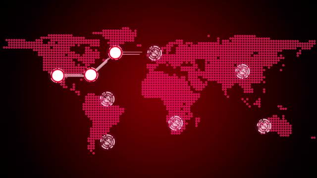 connessioni globali tema in rosso - rappresentazione umana video stock e b–roll