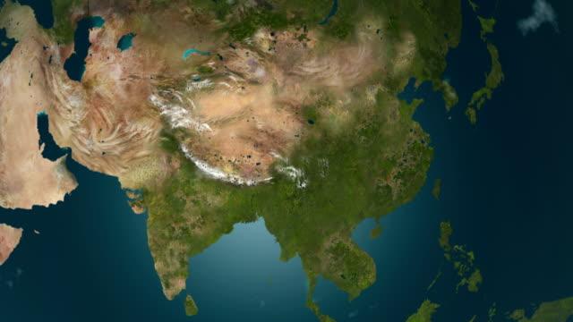 глобальное охлаждение - азия замерзает, анимация 4k. - континент географический объект стоковые видео и кадры b-roll