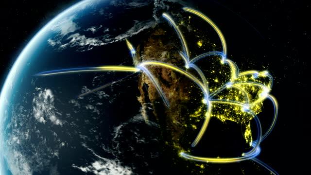 Global Digital network spreading across realistic world video