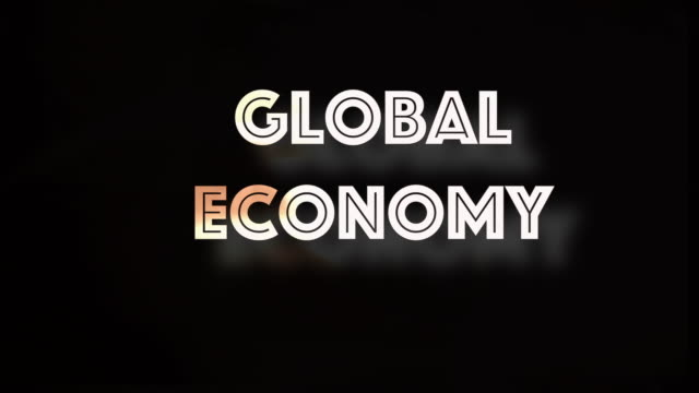 Global economy shrinking computer graphic This computer generated graphic shows the words 'Global Economy'.   The letters decrease in size, contain fire and shake like an earthquake a concept to depict stock market crash, shrinking global economy, recession instability.  Set on a black background with copy space. dow jones industrial average stock videos & royalty-free footage