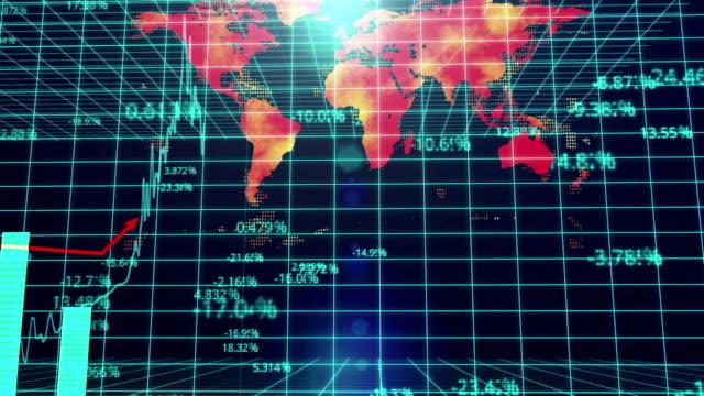グローバル gdp 予測プレゼンテーション、世界地図の背景、石油価格,対 gdp 比 - 経済点の映像素材/bロール