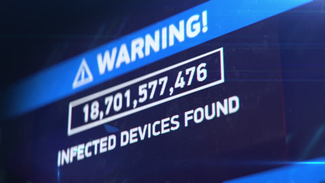 Global hacking attack, countdown of infected devices, network breach, warning