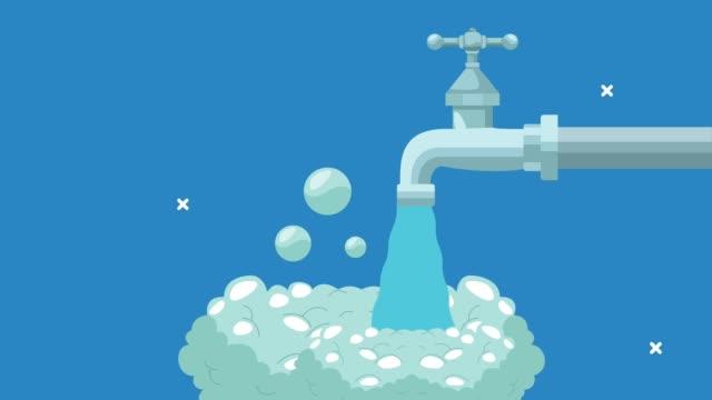 animazione globale di lavaggio delle mani con rubinetto dell'acqua e schiuma - gommapiuma video stock e b–roll