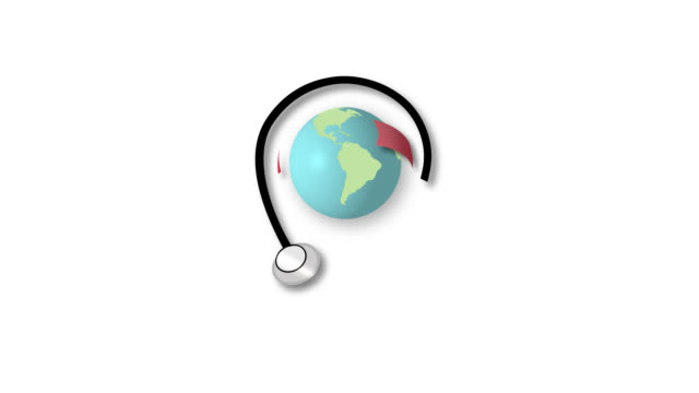 Global health care, medicine, doctors Video animation of the globe with arrows and a stethoscope (with alpha channel) world health day stock videos & royalty-free footage