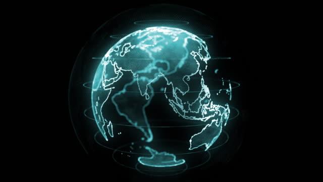 Global Hologram Effect Loop, digital global map, earth, world map Global Hologram Effect Loop, digital global map, earth, world map, 4k resolution uk map stock videos & royalty-free footage