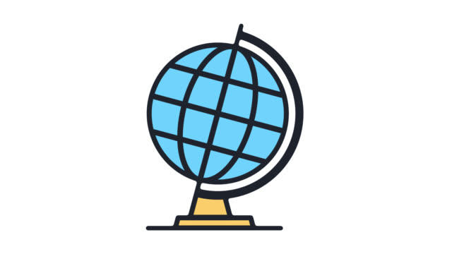 Global Issues & Trends Flat Line Icon Animation with Alpha