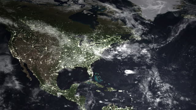 Global Map at Night: America's to Europe video
