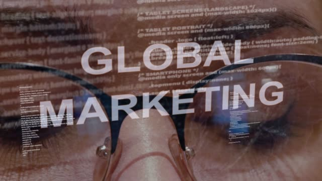 Global marketing text on background of female developer