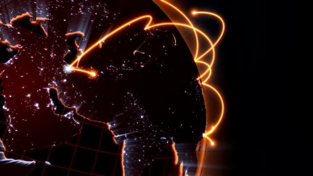 global network animation - orange close-up loop video
