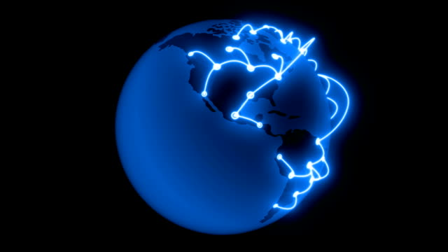 Global Network Blue Color Growing across the Earth. Technology concept 3d animation. Isolated on Black background. HD 1080. video