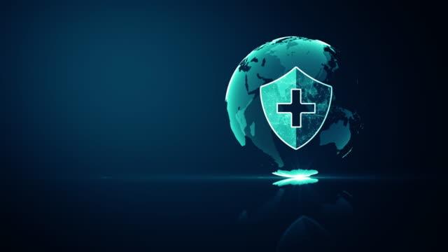 global network medicinsk hälso-och sjukvårdssystem skydd koncept. futuristisk medicinsk hälsa skydd sköld ikon med lysande wireframe ovanför flera på mörkblå bakgrund. sömlös loop 4k animation. - resistance bacteria bildbanksvideor och videomaterial från bakom kulisserna