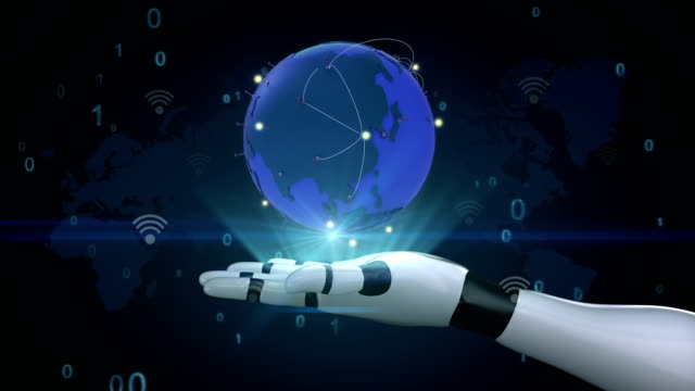 Global Network with communication, world map,earth on robot arm video