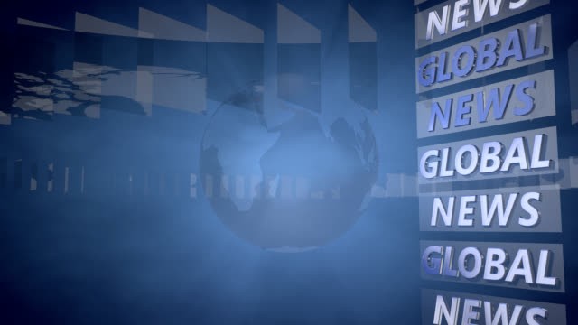 Global News Background with a rotating Globe video