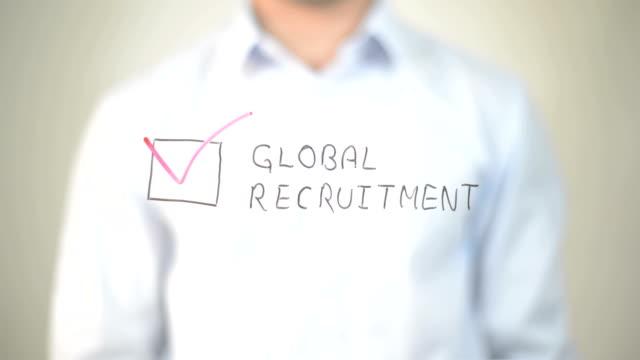 Global Recruitment,  Man writing on transparent screen video