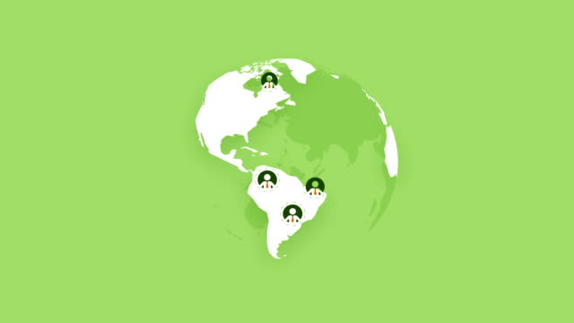 global team people, rotating world earth on green background - people icon video stock e b–roll