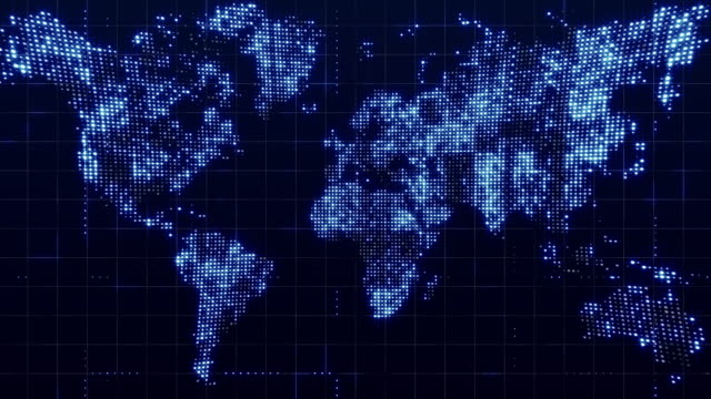 vídeos de stock e filmes b-roll de global technology world map, flat earth, globe worldmap icon, 3d render backgroung - europe points