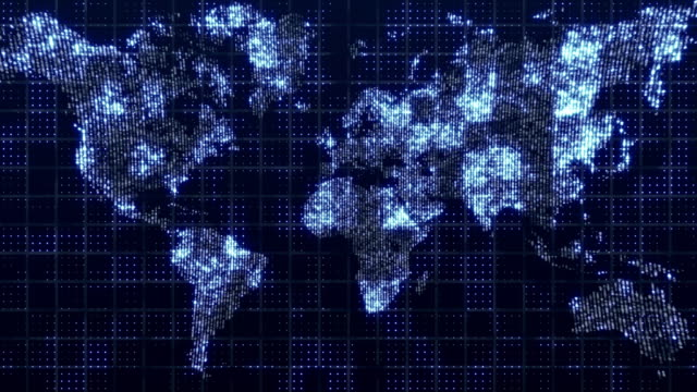 global technology world map, globe worldmap icon, 3d render backgroung - płaski filmów i materiałów b-roll