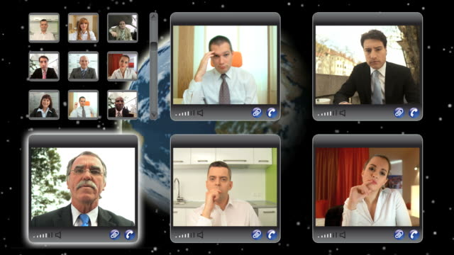 hd montage: global video conference - conference call stock videos & royalty-free footage
