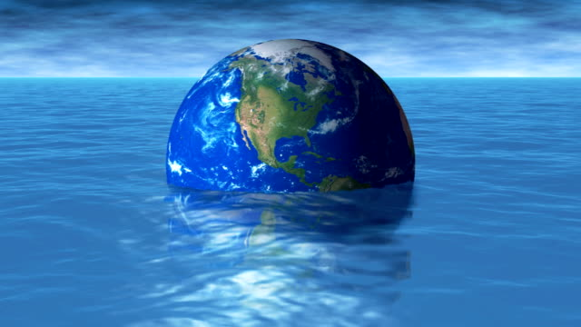 Global Warming – Earth in Water 4K loop video