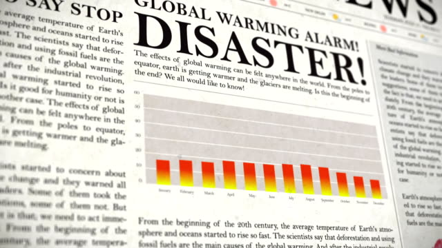 Global Warming Warning Newspaper and Graphs video