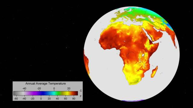 vídeos de stock, filmes e b-roll de mapa do mundo do aquecimento global que mostra a temperatura média anual atual do mundo - meteorologia