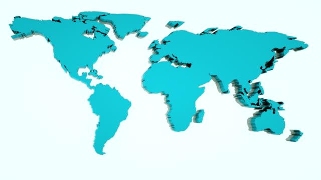 global world map, 3d flat earth map are on wall, globe worldmap symbol, 3d render computer generated background - континент географический объект стоковые видео и кадры b-roll