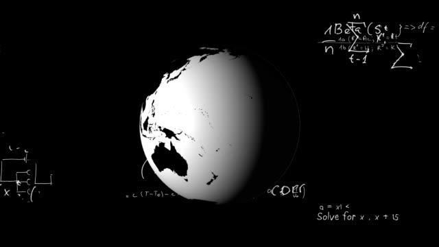 Globe and mathematical equation