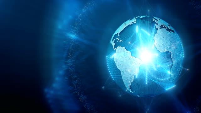 globe visas med rörliga anslutningsledare (blå, rätt position) - jorden nyheter bildbanksvideor och videomaterial från bakom kulisserna