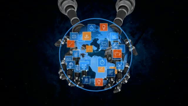 globe held by robot arms - rappresentazione umana video stock e b–roll