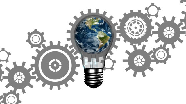 Globe in a light bulb and gears