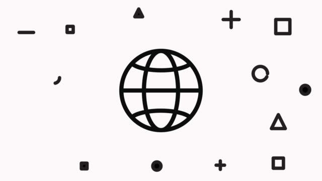 グローブラインアイコンアニメーション - アイコン点の映像素材/bロール
