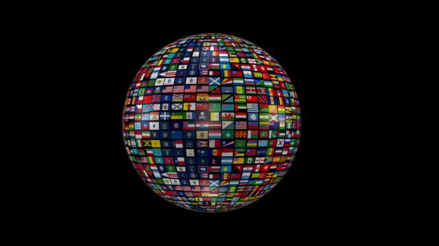 mondo fatto di tutte le bandiere nazionali - bandiera nazionale video stock e b–roll