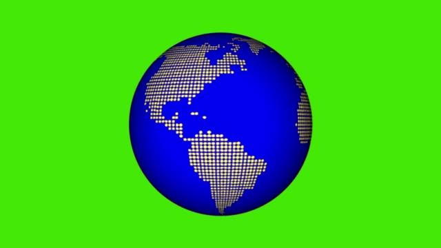 vídeos de stock e filmes b-roll de globe made of dots rotating on the green screen - green world