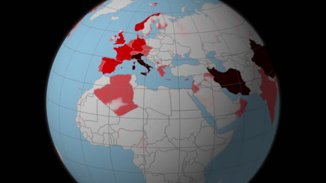 globe map that represents the coronavirus spreading from china to europe - cartina italia video stock e b–roll
