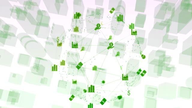 Globe of digital icons against 3D model of city