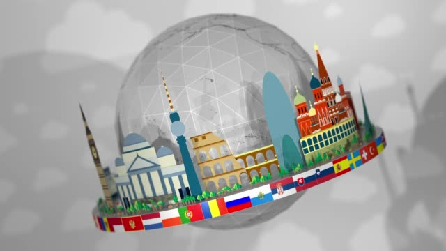 3D Globe of Famous European Landmarks, including all European Flags: Seamless Loop